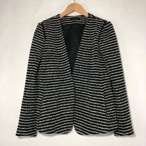 Theory Yaisa Black White Stripe Texture Blazer